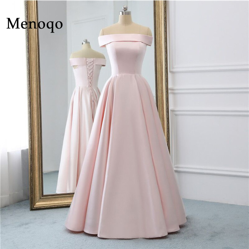Menoqo Pink Long   Evening     Dress   with Pockets Vintage Satin Prom Gowns Vestido De Festa Off The Shoulder Cheap   Evening   Gown