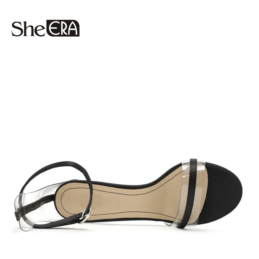 Women Transparent Sandals 9cm High Heels Sandals Black Red Casual Lady Shoes Summer Sandals Classic Female Shoes Woman Footwear in High Heels from Shoes