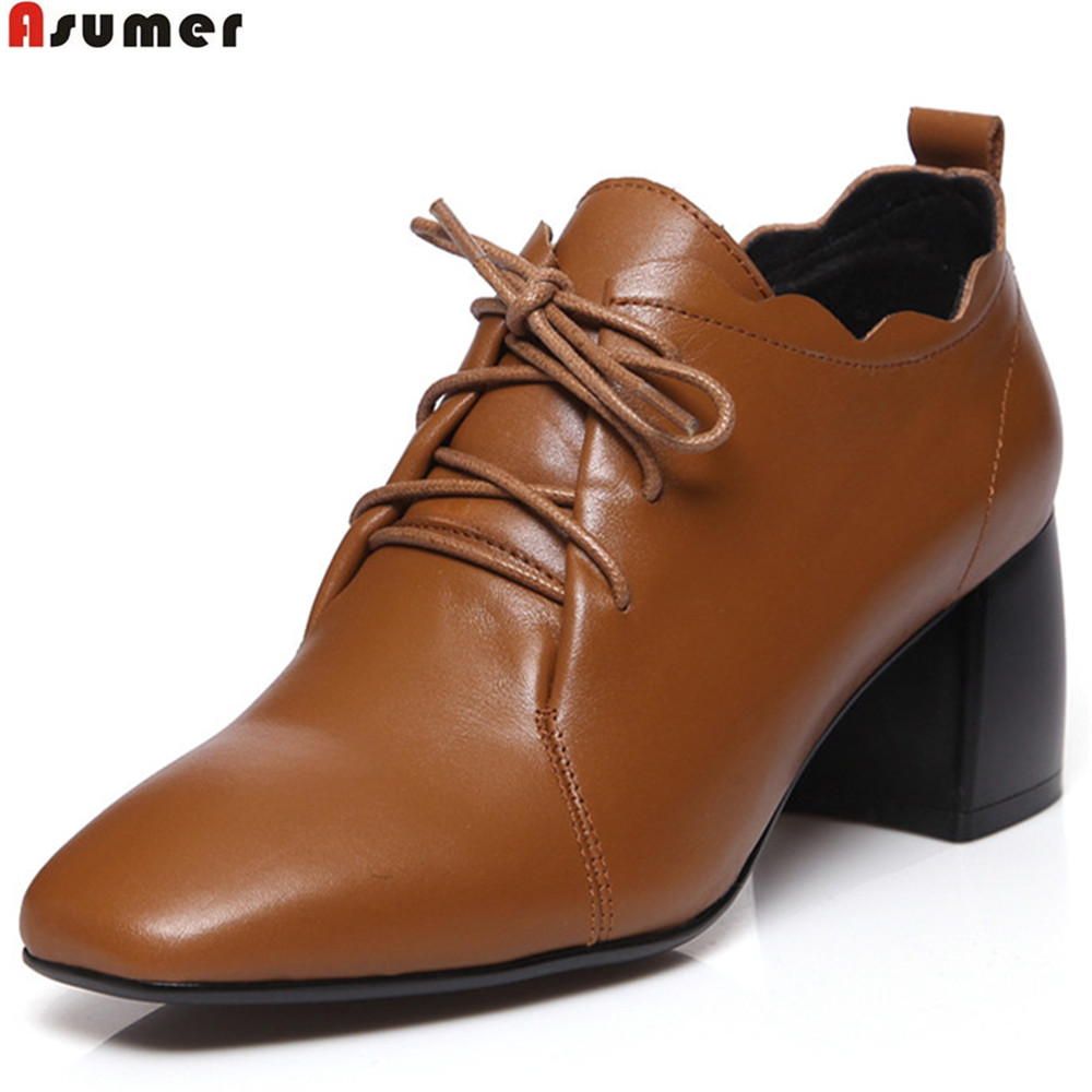 ASUMER black brown fashion spring autumn ladies pumps square toe lace up shoes woman genuine leather high heels shoes aifeiyiyi 2018 cheap throwback jersey paul pierce 34 kansas jayhawks ku college basketball jersey blue stitched mens shirts