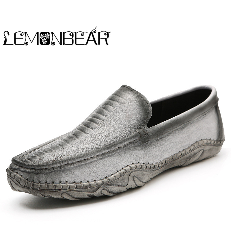 Luxury Casual Shoes Men Loafers Genuine Leather Flat High Quality Designer Shoes Men Moccasins Sneaker Footwear Male Crocodile 38 44 luxury brand designer sneaker men loafers moccasins genuine leather casual shoes male footwear