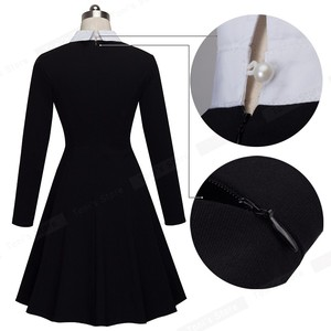 Image 5 - Nice forever Vintage Classic Turn down Neck Elegant Ladylike Charming Solid Full Length Sleeve Ball Gown Formal Woman Dress A016