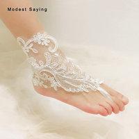 Real Unique Ivory Lace Bridal Barefoot Sandals 2019 Women Anklet Shoes Lace Leg Chain Beach Ankle Bracelets Wedding Accessories
