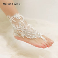 Real Unique Ivory Lace Bridal Barefoot Sandals 2019 Women Anklet Shoes Lace Leg Chain Beach Ankle Bracelets Wedding Accessories