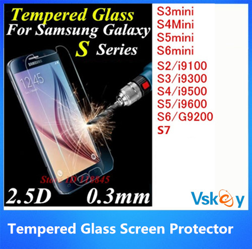By DHL 100pcs 2.5D Tempered Glass For Samsung Galaxy S7 S6 S2 S3 S4 S5 Mini Screen Protector Explosion Proof Protective Film