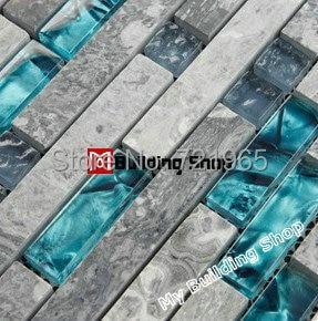 Blue Glass Wall Mosaics Grey Stone Glass Mosaic Tile