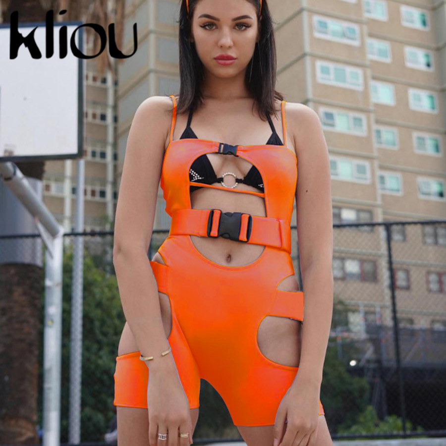 Kliou Women Sexy Playsuit Hollow Out With Belt Strap Backless Sleeveless Sexy Ladies Bodysuit 2019 Summer Fashion Skinny Rompers
