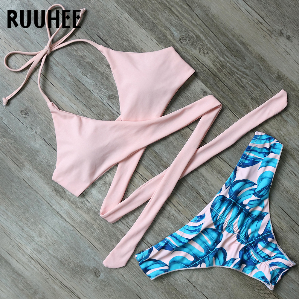RUUHEE Bikini Set Swimsuit Swimwear Women Bikini Sexy Bandage Beachwear Padded Bathing Suit Push Up 2018 Swimming Suit For Women 1