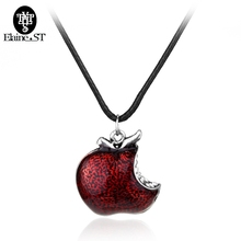 Wholesale 20pcs/lot Once Upon A Time Necklaces Snow White Regina Red Poison Apple Pendant Necklace Fashion Maxi Rope Chain Jewel