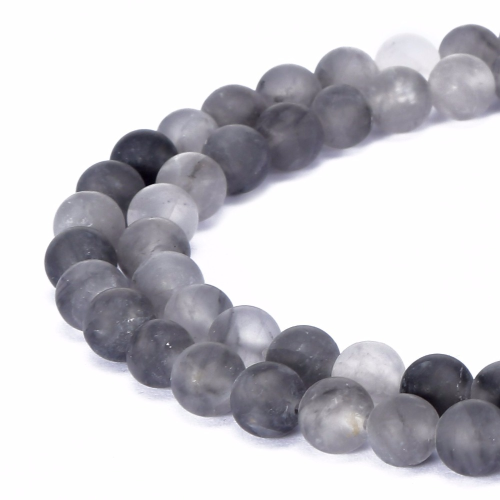 Natural Stone Beads : Mm natural stone beads round gorgeous grey cloudy
