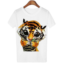 New 2016 Animal Tiger Tees Women T Shirt Cartoon Pug Print Short Sleeve Femme T-Shirts White Plus Size Casual Loose Summer Tops