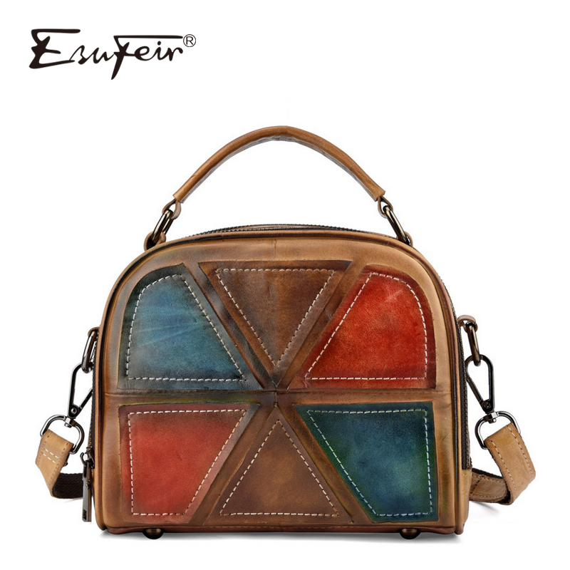 ESUFEIR 100% Genuine Leather Women Shoulder Bags Vintage Brush Leather Female Handbag Patchwork Brand Messenger Bag Casual Tote esufeir brand genuine leather women handbag cow leather patchwork shoulder bag fashion women messenger bag tote bags sac a main