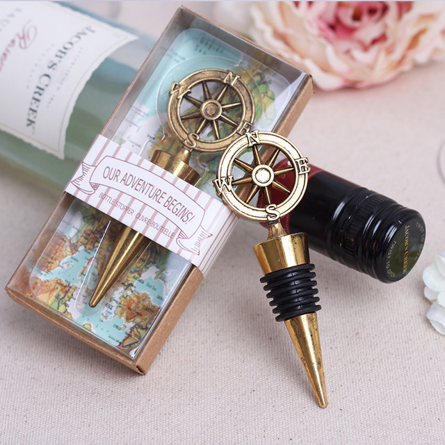 free shipping 50pcslot nautical theme compass wine stopper wedding favors bridal shower ideas beach