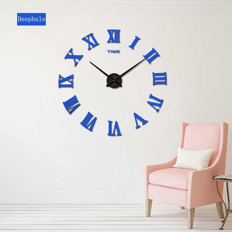 2019 novedad relojes de cuarzo relojes de moda 3D Real gran promoción decoración del hogar espejo romano grande Reloj de pared moderno de moda