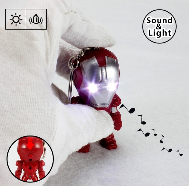 Iron Man Mini Figure with Sound and Light Keychain 2.4 Inches 1