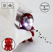 The Avengers 3 Super Hero Iron Man Tony STARK LED Flashlight Action Figures Toys With Sound Keychain Bags Accessories figura(China)