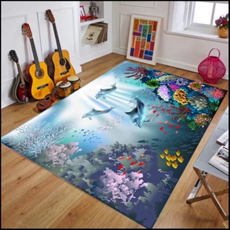 US $12.9 14% OFF Undersea World Marine Biological Carpet Children\'s Bedroom  Living Room Carpets Rug Mat summer 6mm ultra thin 3D carpet Mediterra-in ...
