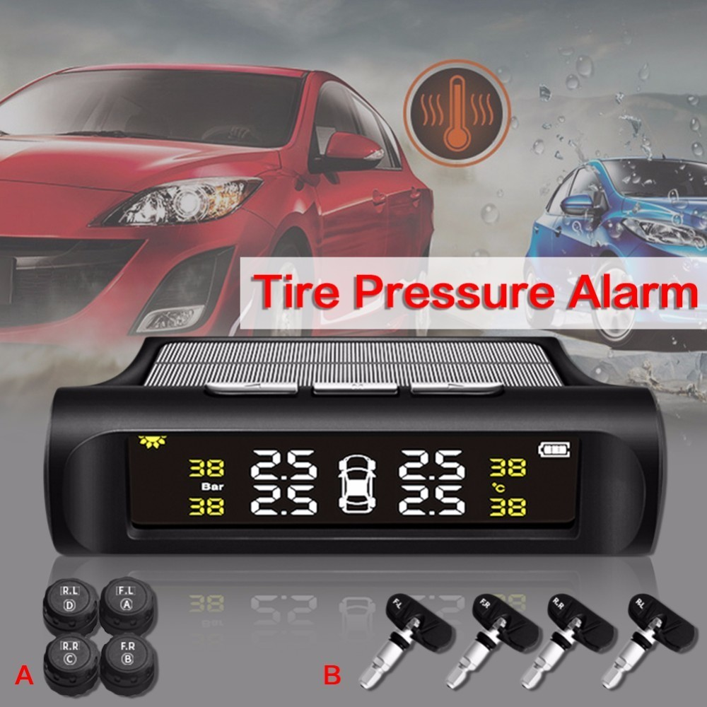 Universal Solar Energy car tpms Tire Pressure Detector Alarm Wireless Tire Pressure Monitor Automotive giantree external car automotive tire pressure monitoring system tpms solar energy alarm abnormal car alarm