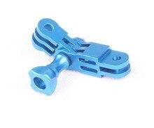 F06688 CNC Alumínio Three-Way Pivot Arm Mount Adaptador Azul para gopro hero 1 2 3 3 + 4 5 sessão/xiaomi yi/sj/gitup esporte câmera