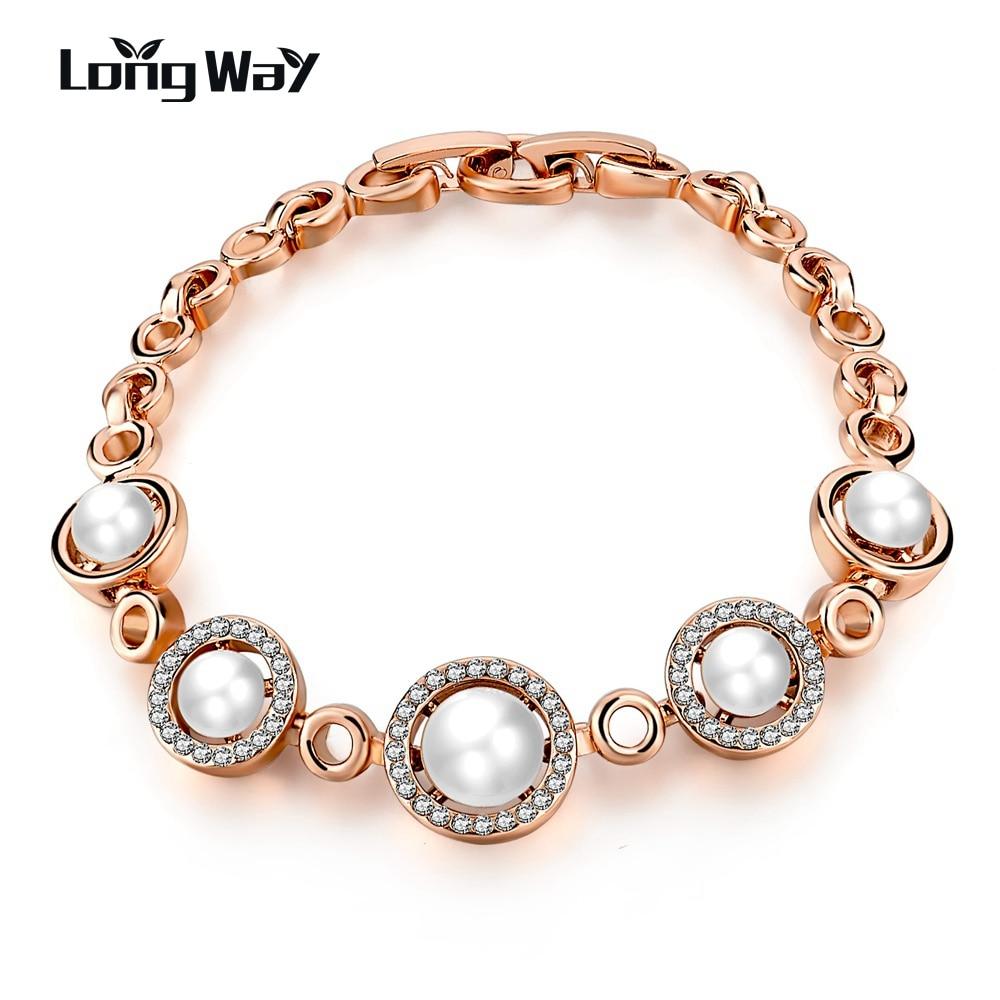 LongWay Crystal Imitation Pearl Bracelets for Women Chain Link Pulseiras Rose Gold Color Jewelry Women Bracelet SBR160113