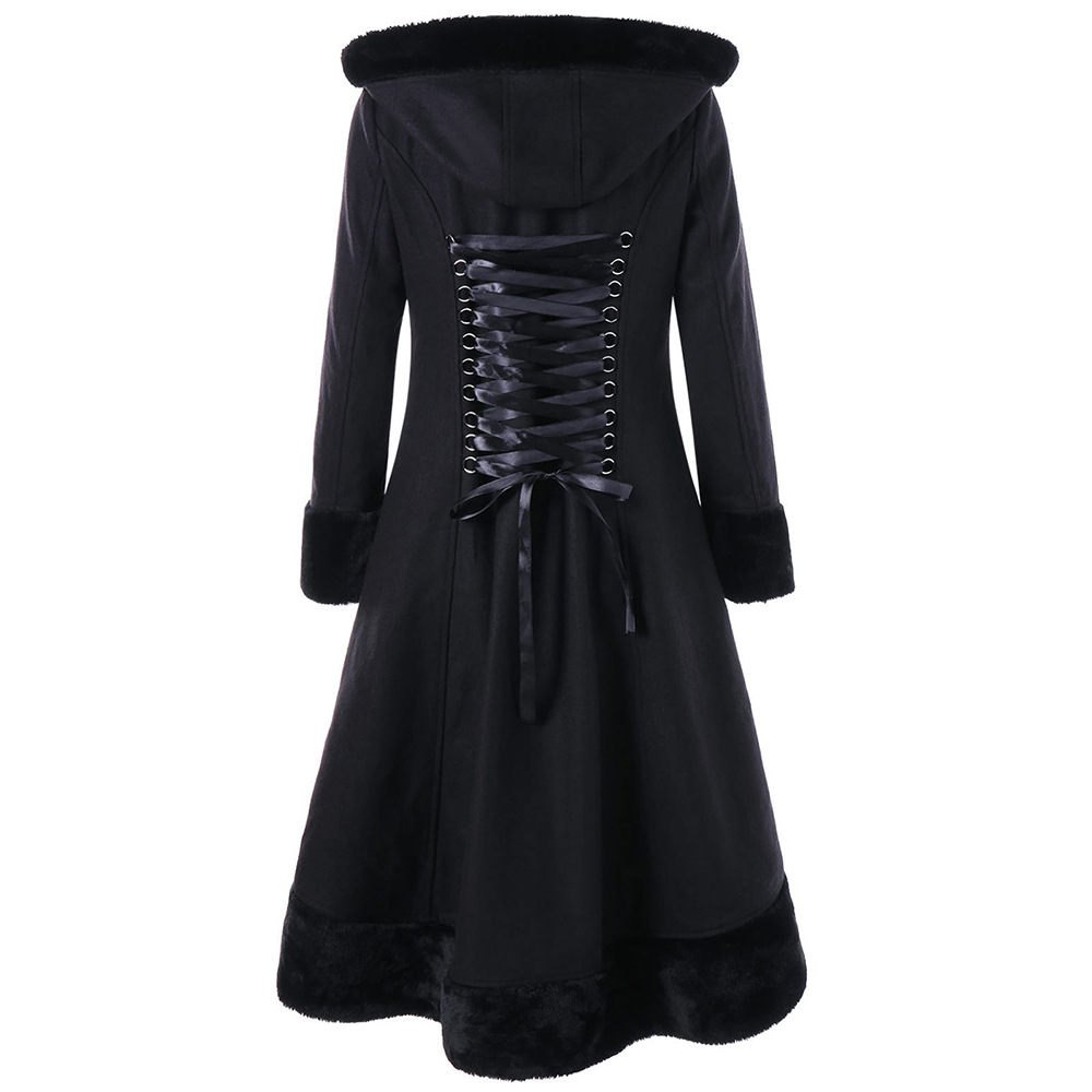 2018 Winter   Trench   Coat Women Gothic Coat with Hood Black Long Faux Fur Woolen Coat Back Lace Up Female Halloween Party Overcoat