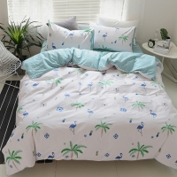 Plants Flamingo Duvet Cover Sets 100 Cotton Fresh Duvet Cover Solid Color Bed Sheets Pillow Case