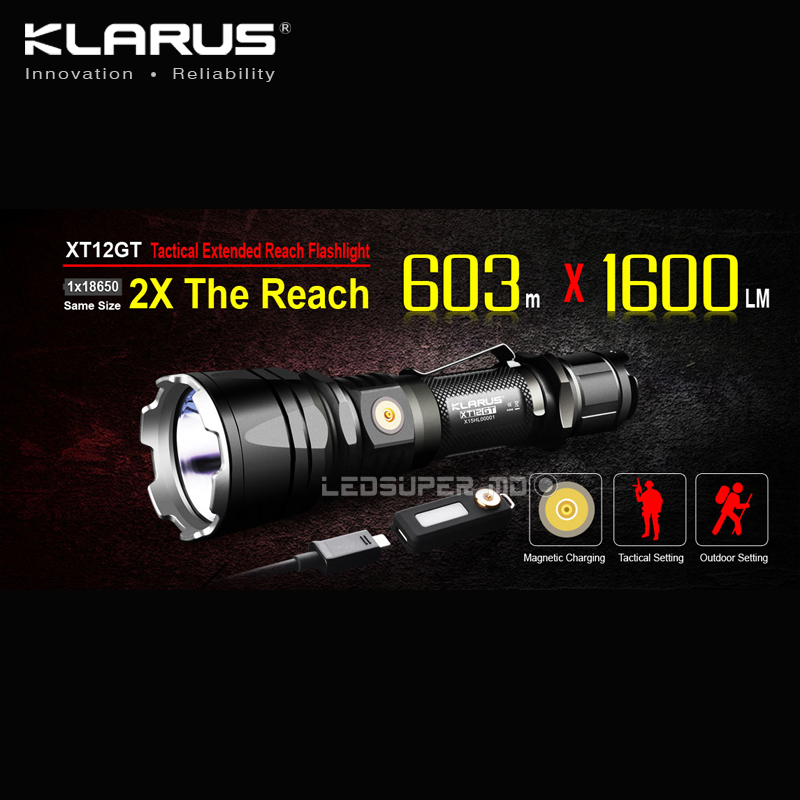 KLARUS XT12GT CREE LED XHP35 HI D4 LED Extended Reach Tactical Flashlight Magnetic Charging with Original 3600mAh Battery new klarus xt11gt cree xhp35 hi d4 led 2000 lm 4 mode tactical led flashlight free usb port and 18650 battey for self defence