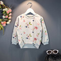 2016 New Hot Children Sweatshirts Casual Flower Print Sweatshirt Girls Spring Autumn Coat Kids Long Sleeve Outwear Girl Clothing