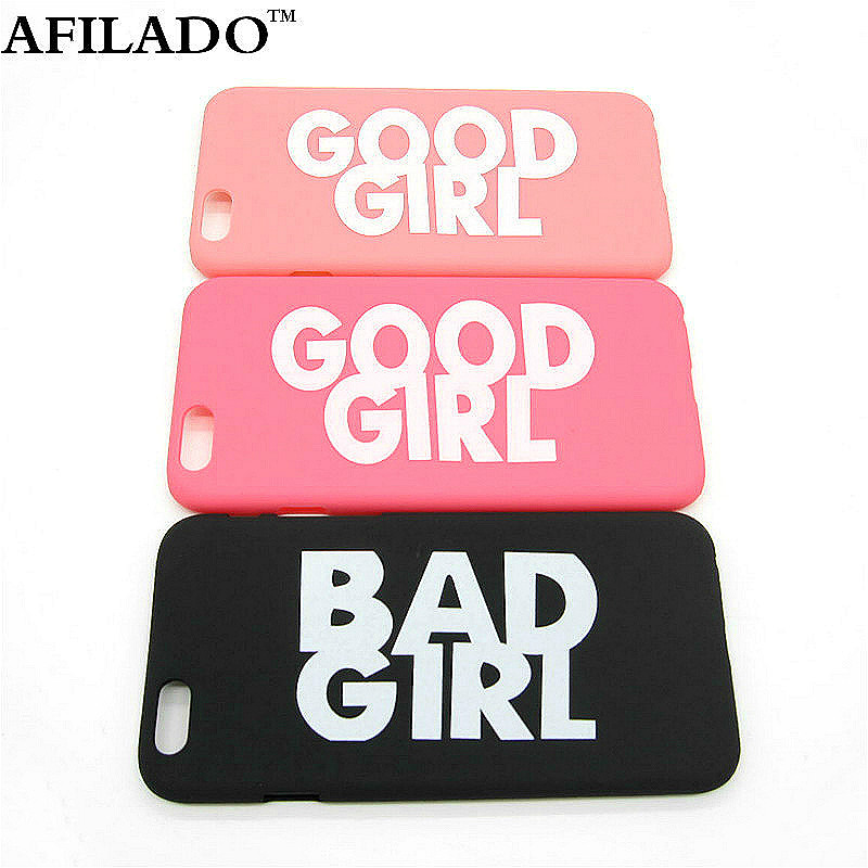 "Fashion Cute BAD GOOD GIRL Pattern Hard Plastic Ultra Thin Back Cover for Apple iPhone 6 6s 4.7"" Funny Slim Phone Case Shell"