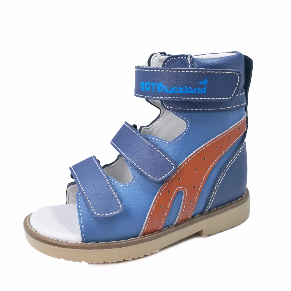Toddler Cool Blue And Orange Orthopedic Genuine Leather Sandals For Children Kids High Ankle Flat Foot Shoes