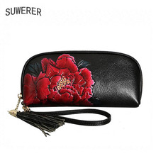 Women bag brand 2018 new women genuine leather bags Fashion color rose embossed Flowers clutch