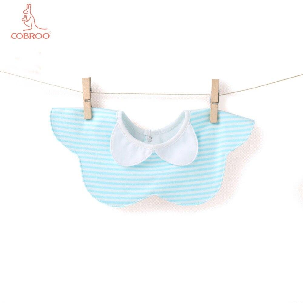 COBROO Stripe Pattern Baby Bibs Sky Blue Cotton Burp Cloths for 0-3-6 Months