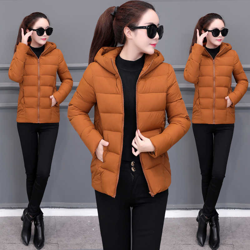 Winter Hooded Jacket Warm Loose Down Cotton Short Outerwear Solid Large size 5XL Female Basic Coat Cotton Student Casual Tops