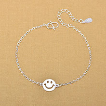 Silver Plated Anklets 925 Fashion Silver Jewelry Chain Smile Face Anklet for Women Girls Friend Foot Barefoot Leg Jewelry(China)