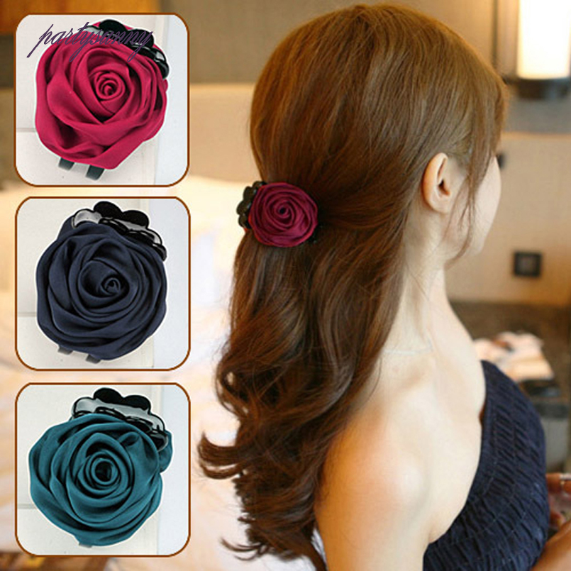 PF Rose Bunga Kain Cakar Rambut Klip Rambut untuk Wanita Baru Korea - Aksesori pakaian