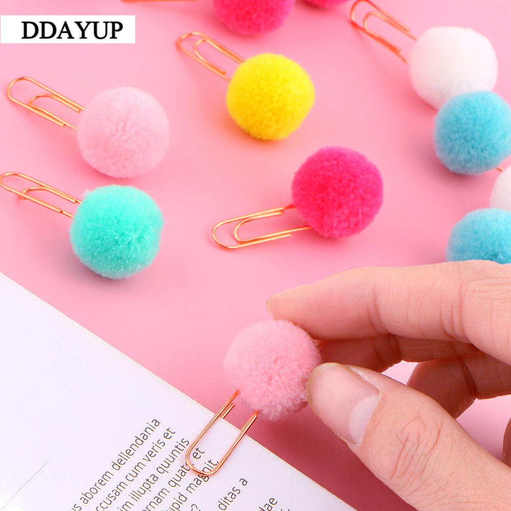 10Pcs/set Cute Hairball Rose Gold Cilp Modelling Paper Clip Fashion Business Office Lady Style Office Stationery Set(China)