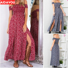 Womens Bohemian Dress 2019  Long Flower sexy Beach Vocation and Flare Printed Longuette Seaside holiday ouc2246