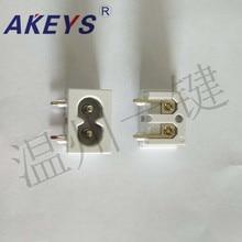 10 PCS AC-003C power socket high quality base 90 degree 8 word 8 word socket 10A250V plum blossom socket white цена