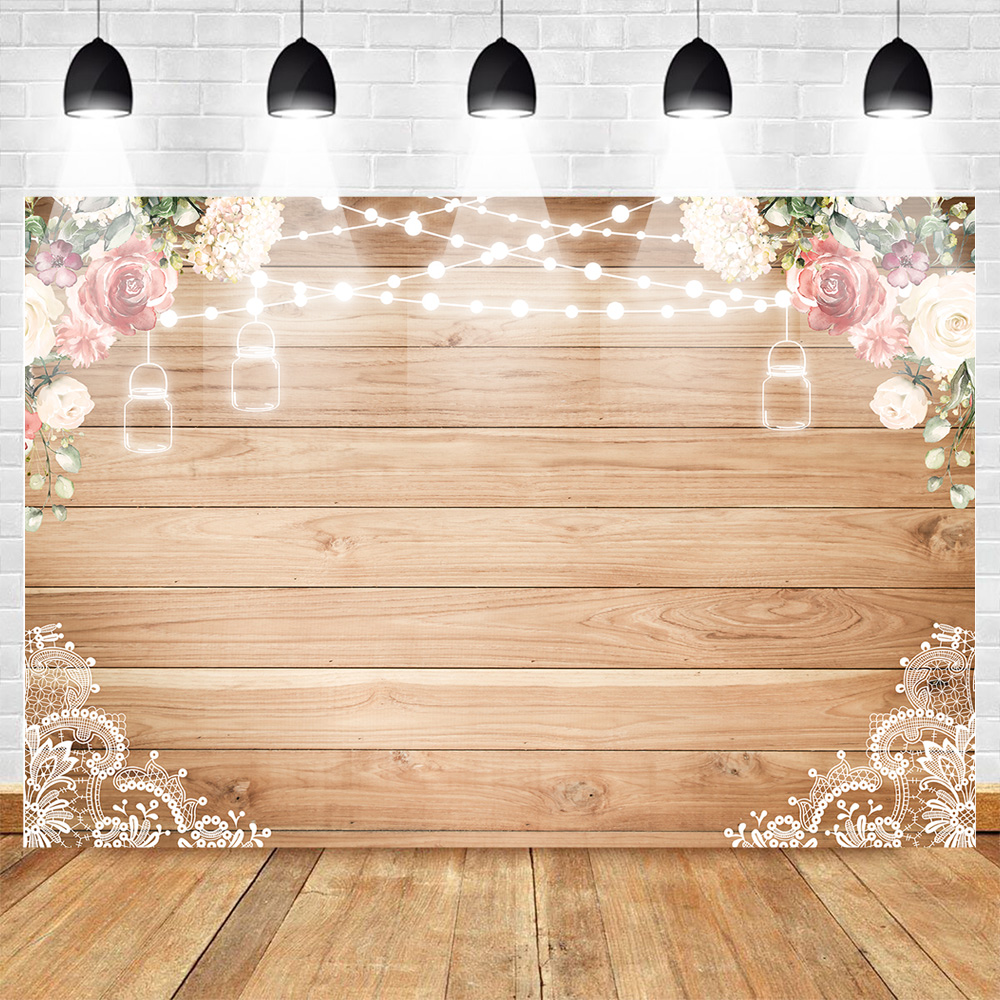 Mocsicka Rustic Wood Floral Wood Lace Backdrop 7x5ft Vinyl Seamless Durable Bridal Shower Wedding Flowers Decoration Party Supplies Baby Girl Birthday Baby Shower Photography Backdrops