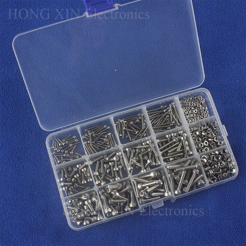 535PCS Head Hex Socket Cap Cylinder M2/M3/M4 Screw Bolt Nut 304 Stainless Steel Assortment Kit Fastener Hardware with Box zenhosit 420pcs m2 m3 m4 304 stainless steel 12sizes hexagon hex hardware cylinder cup machine screws m2 m3 m4 nuts kit with box