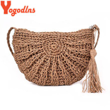 Yogodlns 2019 Half Round Straw Bags for Women Summer Beach Rattan Bag Handmade Woven Half Moon Crossbody Handbags Bohemia(China)