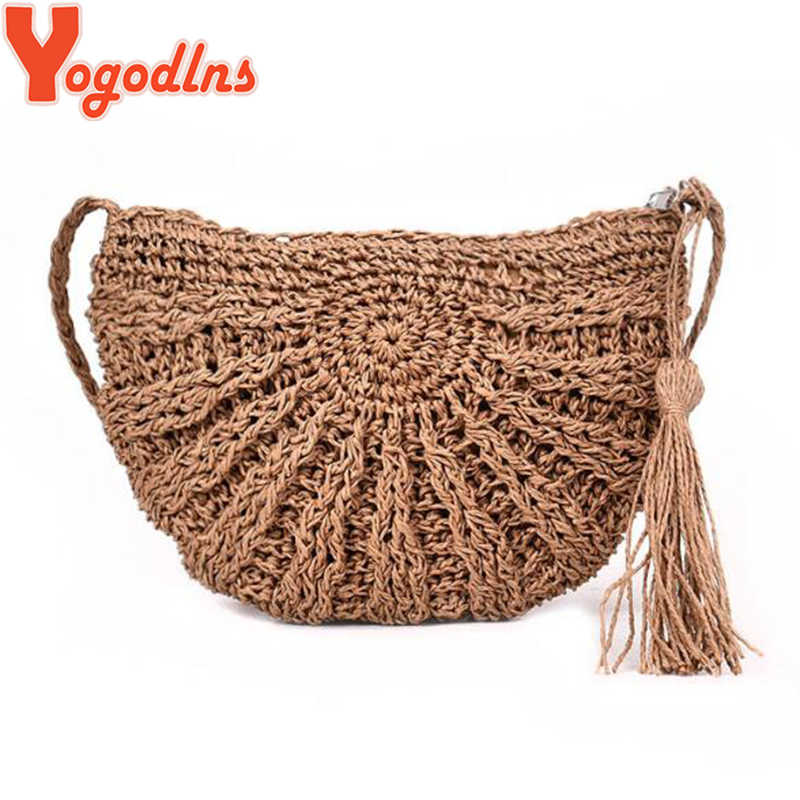 Yogodlns 2020 Setengah Jerami Tas untuk Wanita Musim Panas Pantai Tas Rotan Handmade Woven Half Moon Crossbody Tas Tangan Bohemia