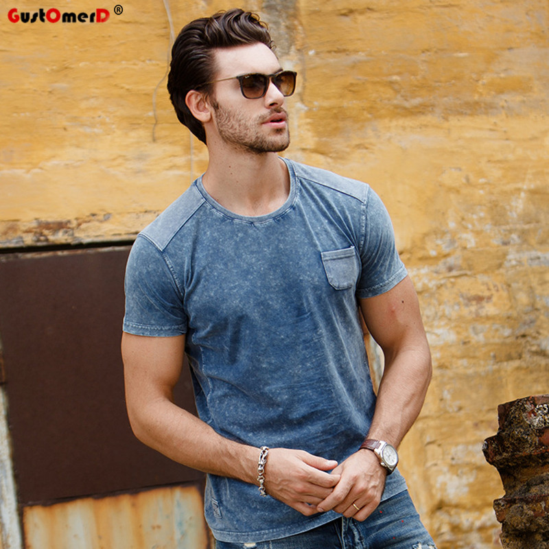 GustOmerD Gloednieuwe T-shirt Mode Patchwork t-shirt Man Korte mouw Tops Pure Katoenen T-shirt heren Casual T-shirt Mannen S-XXL