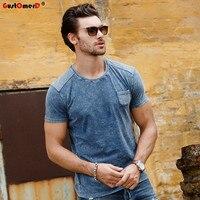 GustOmerD 2017 Summer Top Quality 100 Cotton Slim T Shirt Fashion Design Short Sleeve Mens T