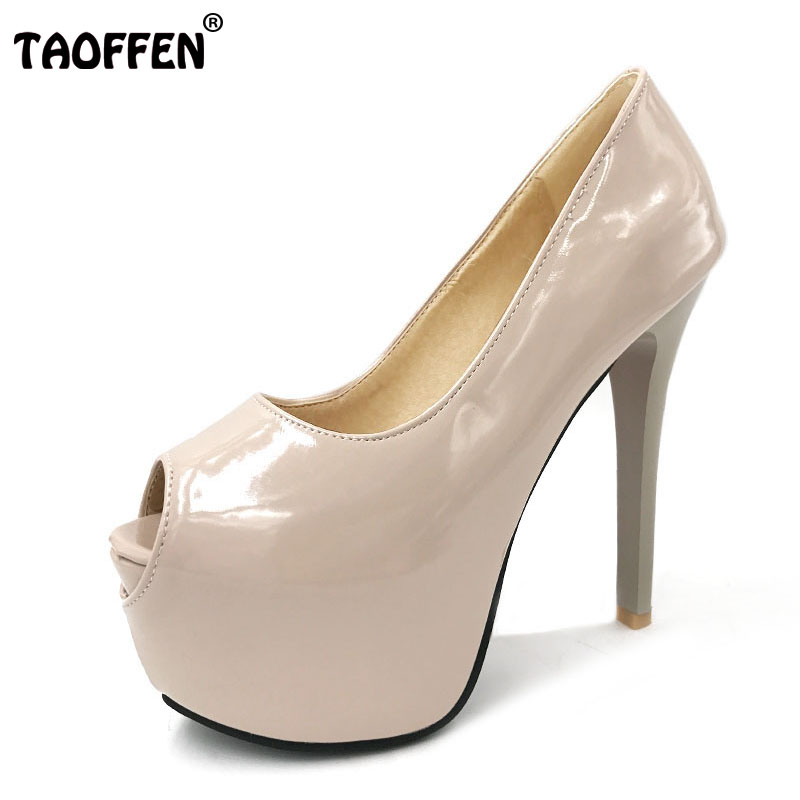 TAOFFEN women peep open toe thin high heel shoes wedding sexy female platform heeled sexy pumps heels shoes size 32-42 P16591 cdts 35 45 46 summer zapatos mujer peep toe sandals 15cm thin high heels flowers crystal platform sexy woman shoes wedding pumps