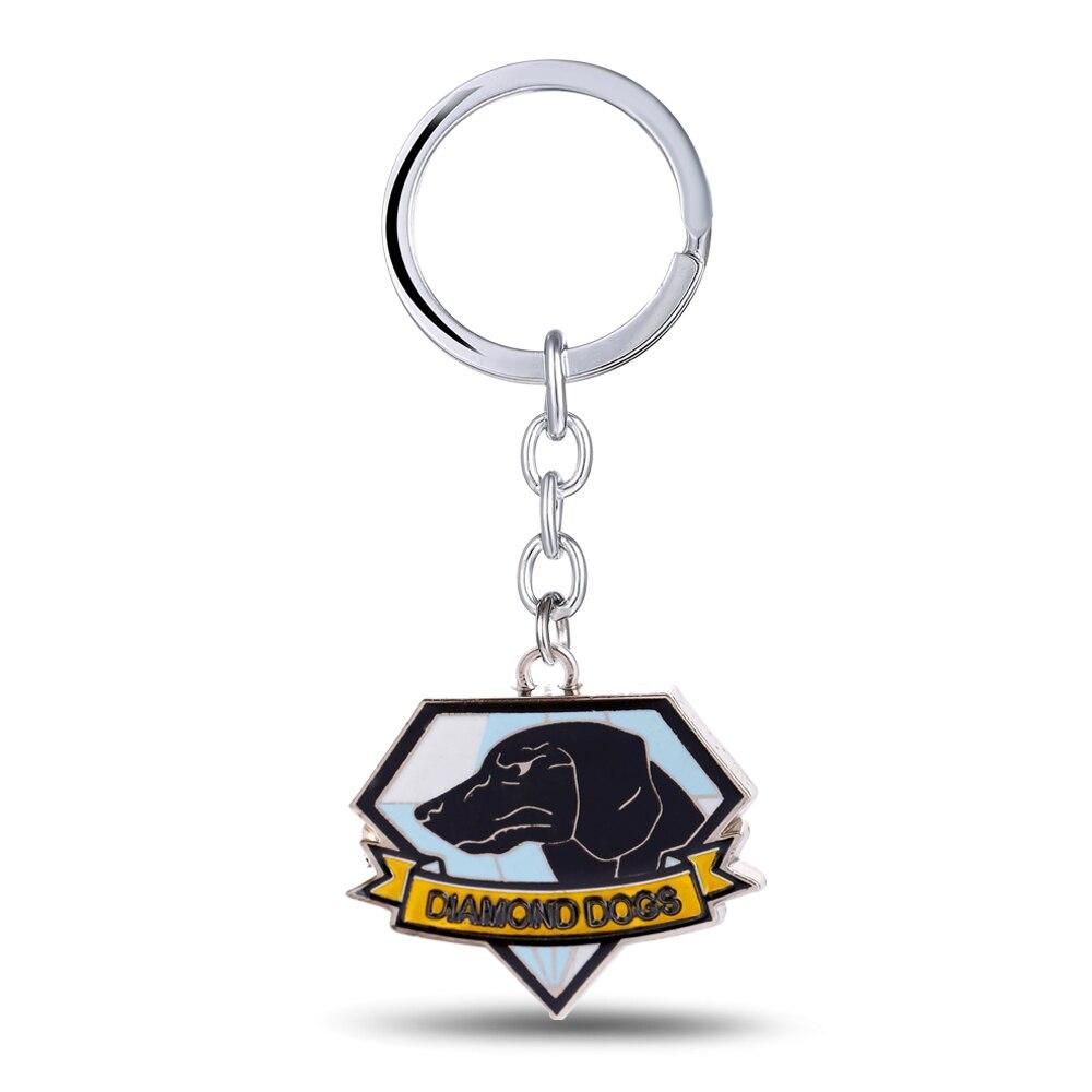 12/pcs/lot METAL GEAR Key Chain DiamondDog Key Rings For Gift Chaveiro Car Keychain Jewelry Game Key Holder Souvenir YS11106
