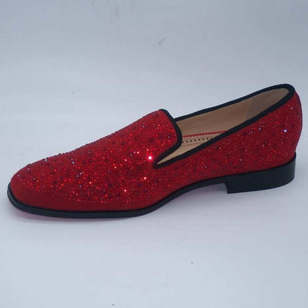 sapato social masculino classic handmade red black leather slip on loafers crystal rhinestone glitter office mens dress shoes
