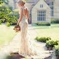 Mermaid Sleeveless 2017 New Sexy V-neck White Beaded Applique Lace Wedding Dress Bridal Gown vestido de noiva robe de mariage