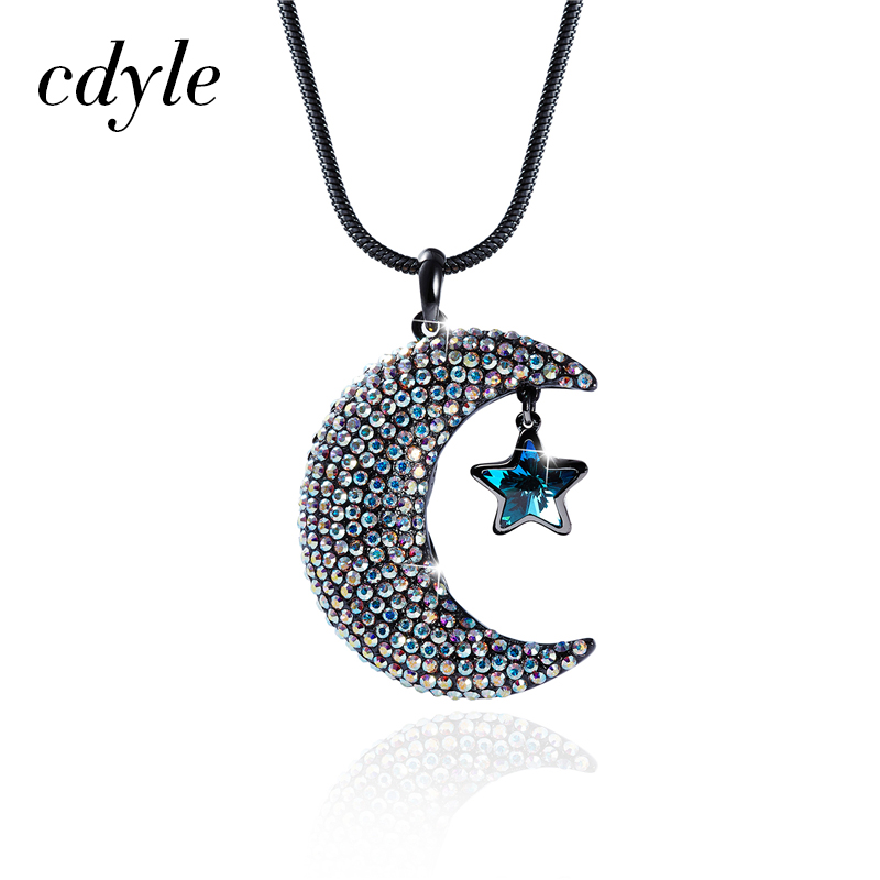 Cdyle Pendants Women Necklaces Moon Shaped Austrian Rhinestone Paved Crystals From Swarovski Christmas Gift Sweater Chain Blue