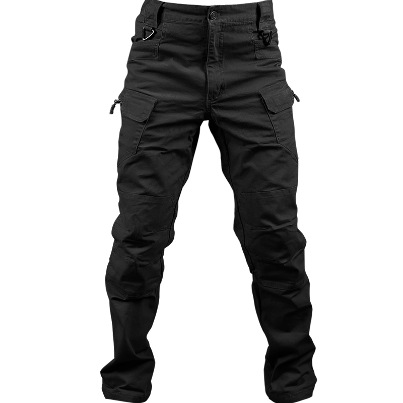 Cotton Trousers Cargo-Pants Stretch Many-Pocket Military-Style Black Camouflage Plus-Size