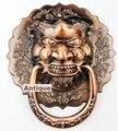 18 CM de diâmetro cabeça de leão Chinês Antigo maçaneta aldrava lidar besta unicórnio